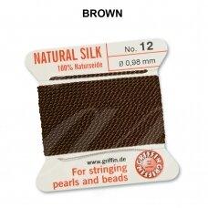 Griffin® 100% natūralaus šilko siūlas (1 adata) dydis 12 (0.98mm) Brown (2m)