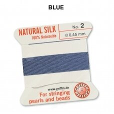 Griffin® 100% Natural Silk Thread with 1 Needle Size 2 (0.45mm) Blue (2m)