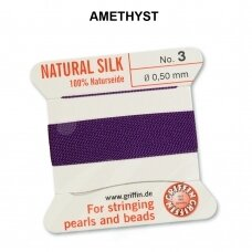 Griffin® 100% Natural Silk Thread with 1 Needle Size 3 (0.50mm) Amethyst (2m)