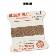 Griffin® 100% Natural Silk Thread with 1 Needle Size 3 (0.50mm) Beige (2m)