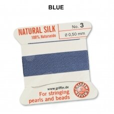 Griffin® 100% Natural Silk Thread with 1 Needle Size 3 (0.50mm) Blue (2m)