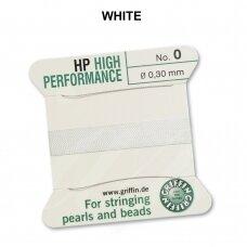 Griffin® High Performance virvelė (2 adatos) dydis 0 (0.30mm) White (2m)