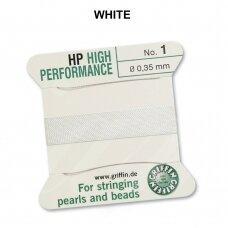 Griffin® High Performance virvelė (2 adatos) dydis 1 (0.35mm) White (2m)