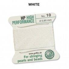 Griffin® High Performance virvelė (2 adatos) dydis 10 (0.90mm) White (2m)