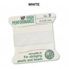 Griffin® High Performance virvelė (2 adatos) dydis 3 (0.50mm) White (2m)