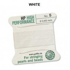 Griffin® High Performance virvelė (2 adatos) dydis 5 (0.65mm) White (2m)