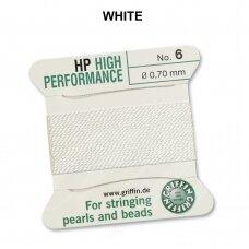 Griffin® High Performance virvelė (2 adatos) dydis 6 (0.70mm) White (2m)