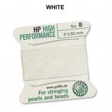 Griffin® High Performance virvelė (2 adatos) dydis 8 (0.80mm) White (2m)