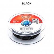 Griffin® Jewelry Elastic virvelė 1mm diametro Black (25m)