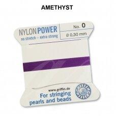 Griffin® NylonPower siūlas (1 adata) dydis 0 (0.30mm) Amethyst (2m)