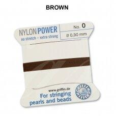Griffin® NylonPower siūlas (1 adata) dydis 0 (0.30mm) Brown (2m)