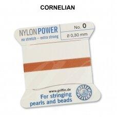 Griffin® NylonPower siūlas (1 adata) dydis 0 (0.30mm) Cornelian (2m)