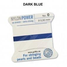 Griffin® NylonPower siūlas (1 adata) dydis 0 (0.30mm) Dark Blue (2m)