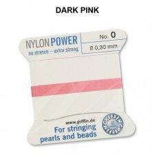 Griffin® NylonPower siūlas (1 adata) dydis 0 (0.30mm) Dark Pink (2m)
