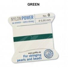 Griffin® NylonPower siūlas (1 adata) dydis 0 (0.30mm) Green (2m)