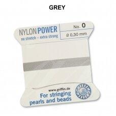 Griffin® NylonPower siūlas (1 adata) dydis 0 (0.30mm) Grey (2m)