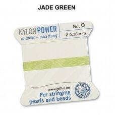Griffin® NylonPower siūlas (1 adata) dydis 0 (0.30mm) Jade Green (2m)
