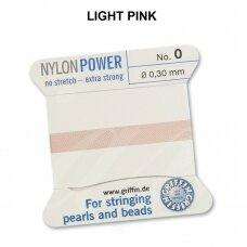 Griffin® NylonPower siūlas (1 adata) dydis 0 (0.30mm) Light Pink (2m)