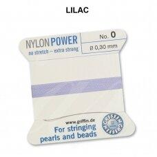 Griffin® NylonPower siūlas (1 adata) dydis 0 (0.30mm) Lilac (2m)