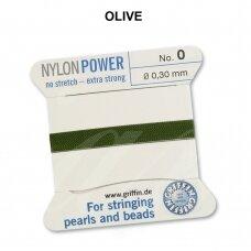 Griffin® NylonPower siūlas (1 adata) dydis 0 (0.30mm) Olive (2m)