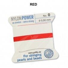Griffin® NylonPower siūlas (1 adata) dydis 0 (0.30mm) Red (2m)