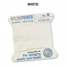 Griffin® NylonPower siūlas (1 adata) dydis 0 (0.30mm) White (2m)