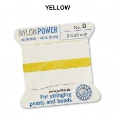 Griffin® NylonPower siūlas (1 adata) dydis 0 (0.30mm) Yellow (2m)