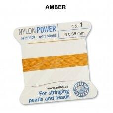 Griffin® NylonPower siūlas (1 adata) dydis 1 (0.35mm) Amber (2m)