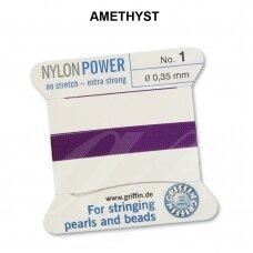 Griffin® NylonPower siūlas (1 adata) dydis 1 (0.35mm) Amethyst (2m)