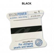 Griffin® NylonPower siūlas (1 adata) dydis 1 (0.35mm) Black (2m)