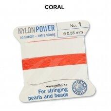 Griffin® NylonPower siūlas (1 adata) dydis 1 (0.35mm) Coral (2m)