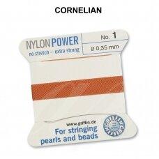 Griffin® NylonPower siūlas (1 adata) dydis 1 (0.35mm) Cornelian (2m)
