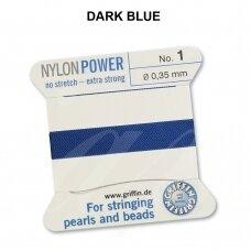 Griffin® NylonPower siūlas (1 adata) dydis 1 (0.35mm) Dark Blue (2m)