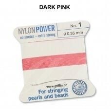 Griffin® NylonPower siūlas (1 adata) dydis 1 (0.35mm) Dark Pink (2m)