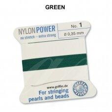 Griffin® NylonPower siūlas (1 adata) dydis 1 (0.35mm) Green (2m)