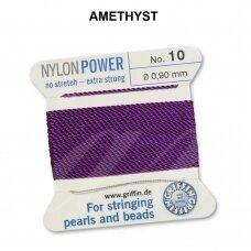 Griffin® NylonPower siūlas (1 adata) dydis 10 (0.90mm) Amethyst (2m)