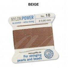 Griffin® NylonPower siūlas (1 adata) dydis 10 (0.90mm) Beige (2m)