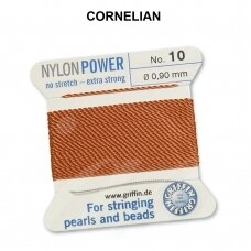 Griffin® NylonPower siūlas (1 adata) dydis 10 (0.90mm) Cornelian (2m)