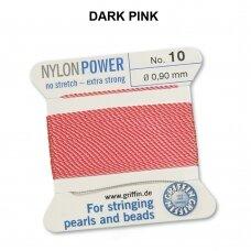 Griffin® NylonPower siūlas (1 adata) dydis 10 (0.90mm) Dark Pink (2m)