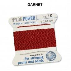 Griffin® NylonPower siūlas (1 adata) dydis 10 (0.90mm) Garnet (2m)