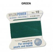 Griffin® NylonPower siūlas (1 adata) dydis 10 (0.90mm) Green (2m)