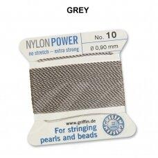 Griffin® NylonPower siūlas (1 adata) dydis 10 (0.90mm) Grey (2m)