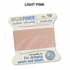 Griffin® NylonPower siūlas (1 adata) dydis 10 (0.90mm) Light Pink (2m)