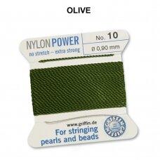 Griffin® NylonPower siūlas (1 adata) dydis 10 (0.90mm) Olive (2m)