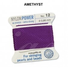 Griffin® NylonPower siūlas (1 adata) dydis 12 (0.98mm) Amethyst (2m)