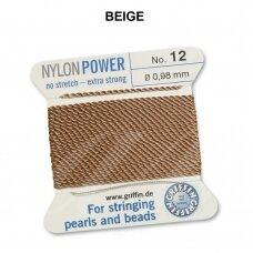 Griffin® NylonPower siūlas (1 adata) dydis 12 (0.98mm) Beige (2m)