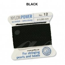 Griffin® NylonPower siūlas (1 adata) dydis 12 (0.98mm) Black (2m)