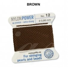 Griffin® NylonPower siūlas (1 adata) dydis 12 (0.98mm) Brown (2m)