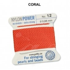 Griffin® NylonPower siūlas (1 adata) dydis 12 (0.98mm) Coral (2m)