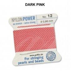 Griffin® NylonPower siūlas (1 adata) dydis 12 (0.98mm) Dark Pink (2m)